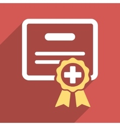 Medical certificate flat square icon with long vector