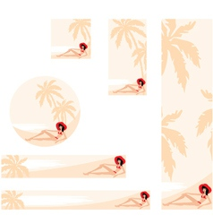Palm trees and woman banner vector