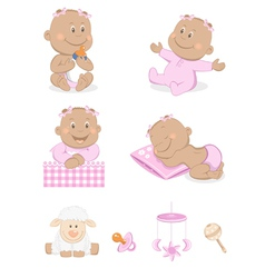 Baby girl with toys vector