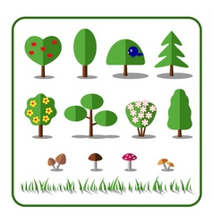 Tree icons set with mushrooms and grass vector