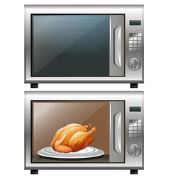 Roasted chicken in microwave oven vector
