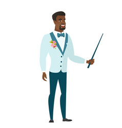 African-american groom holding pointer stick vector