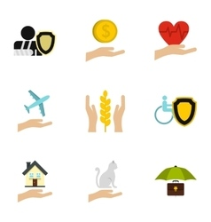 Assurance icons set flat style vector