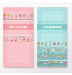 Baby shower cards with funny flowers vector