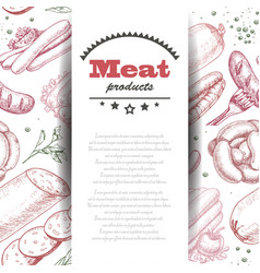 background with meat products vector image vector image