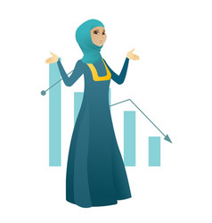 Bancrupt muslim business woman with spread arms vector