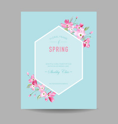 Blooming spring and summer floral frame vector