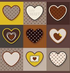 brown and khaki cute hearts emblem pattern set vector image vector image