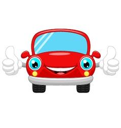 Cartoon car gives thumbs up vector image vector image