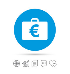 Case with euro eur sign briefcase button vector