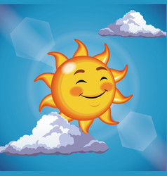 Character sun cute face close eyes - cartoon in vector