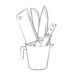 container with knives monochrome blurred vector image