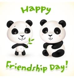 Cute little pandas friends vector