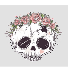 Cute tattoo style skull vector image