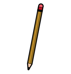 cute yellow pencil cartoon vector image