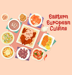 Eastern european cuisine festive dishes icon vector