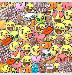 Emoji smiley faces background emoticon stickers vector