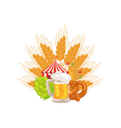 Food set and beer on white vector