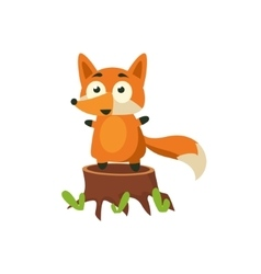 Fox Standing On Stump vector image vector image