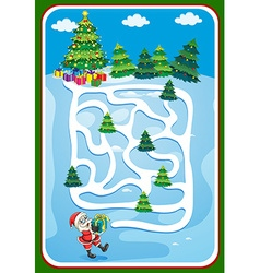 Game template with santa and christmas tree vector image