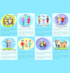 Happy grandparents day posters with older people vector