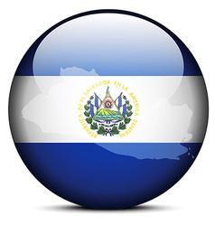 Map on flag button of republic of el salvador vector