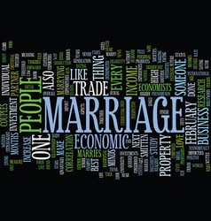 Marriage an economic perspective text background vector