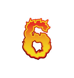 Number 6 fire flames font six tattoo alphabet vector