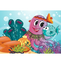 Octopus and blow fish vector image vector image