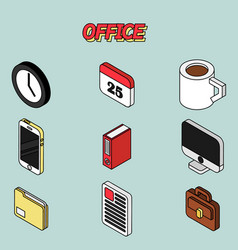 Office flat outline isometric set vector