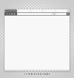 Opened browser window template and different vector