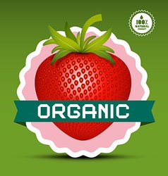 Organic logo red strawberry in pink circle label vector