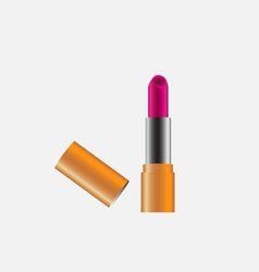 Pink lipstick with copper case cover vector image vector image