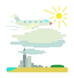 Plane flies over city concept flat style vector
