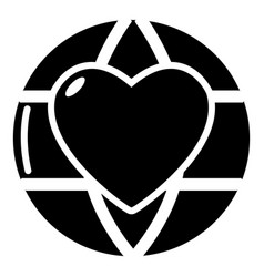 planet heart icon simple black style vector image vector image