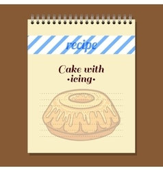 Recipe book cake with icing vector