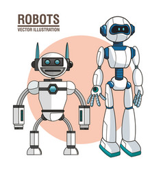 Robots android modern technology vector