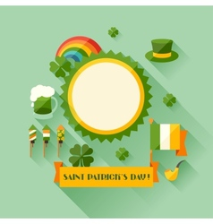 Saint Patricks Day greeting card in flat design vector image vector image