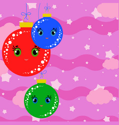 set of flat colored isolated christmas tree balls vector image