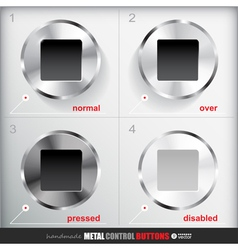 Set of four positions of circle metal stop button vector