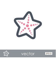 Starfish outline icon summer vacation vector