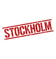 Stockholm red square stamp vector