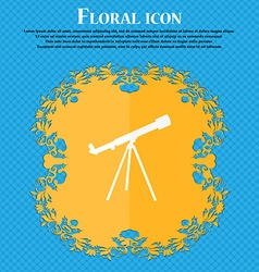Telescope icon floral flat design on a blue vector