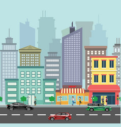 the landscape of the modern city with cars vector image vector image