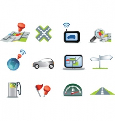 travel and navigation icons vector image vector image