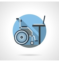 Wheelchair and computer detailed color icon vector image