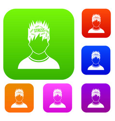 word stress in the head of man set collection vector image