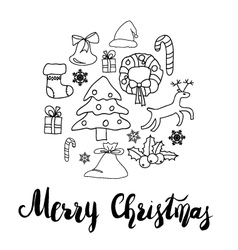 Greeting card design with various xmas ornaments vector