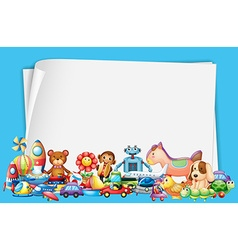 Paper design with lots of toys vector
