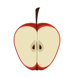 silhouette color with half an apple vector image